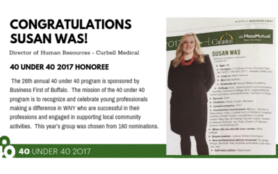 Curbell In The News: Congratulations Susan Was – 40 Under 40 Honoree!